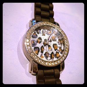 Cheetah bling watch brown
